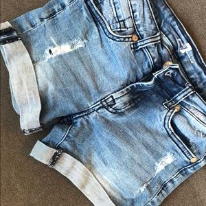 Distressed jean shorts with spandex for comfort